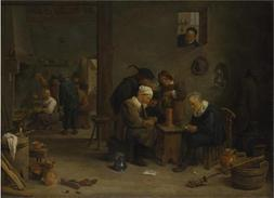 'David Teniers The Younger - Two Men Playing Cards In The Ki
