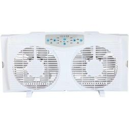 Optimus F-5286 8-Inch Reversible Twin Window Fan with Thermo