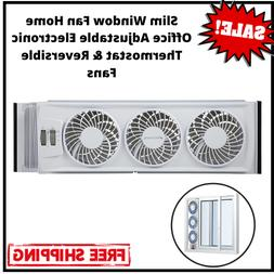 Slim Window Fan Home Office Adjustable Electronic Thermostat